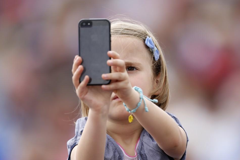 Child using phone