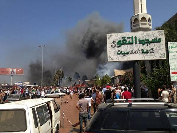 Photo purporting site of explosion in Tripoli
