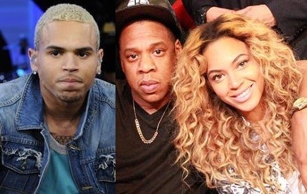 Chris Brown, Jay Z and Beyonce