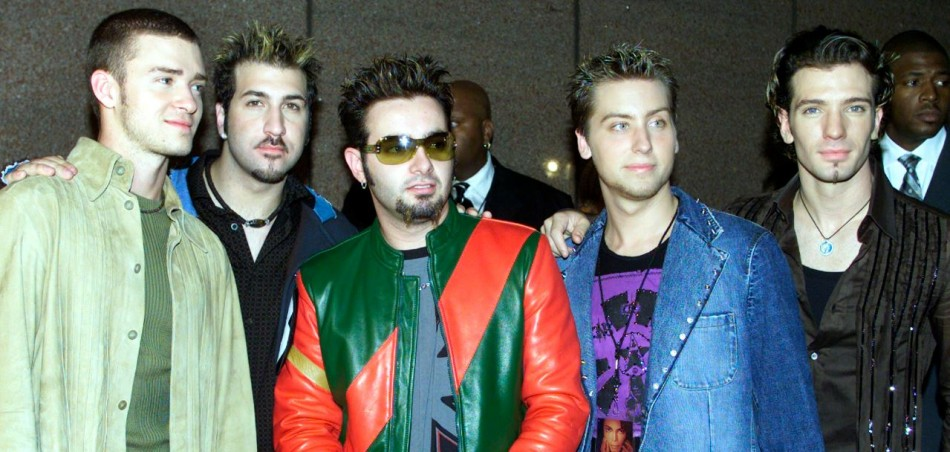 The band N'Sync, from left to right, Justin Timberlake, Joey Fatone, Chris Kirkpatrick, Lance Bass and J.C. Chasez