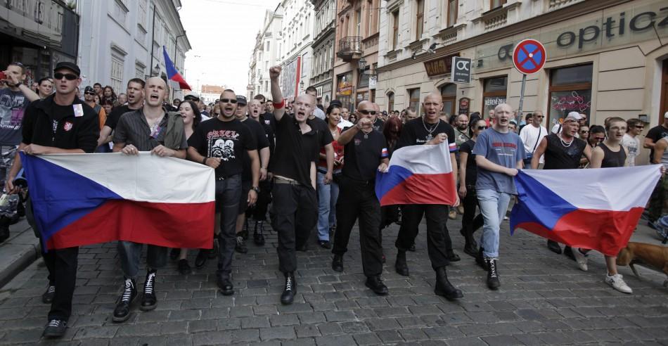 far-right ant-Roma demonstrators in the Czech city of Plzen.