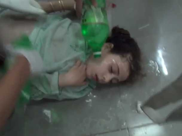Suspected victim of chemical weapons attack in eastern Damascus