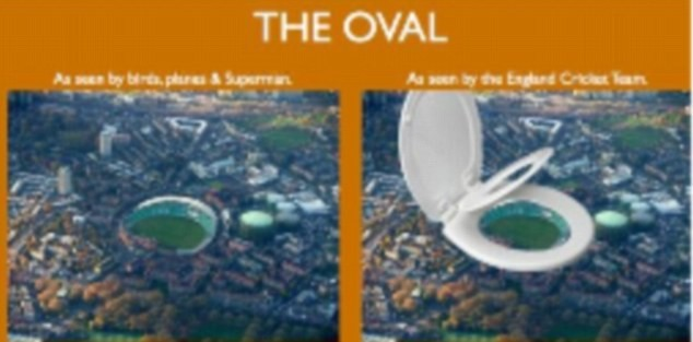 Oval toilet image uploaded on to Twitter by Michael Vaughan