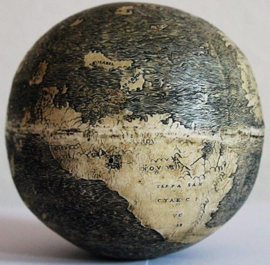 The oldest known globe, carved on ostrich eggs, dates back to early 1500s and shows North America as a group of fragmented islands. (Photo: Washington Map Society)