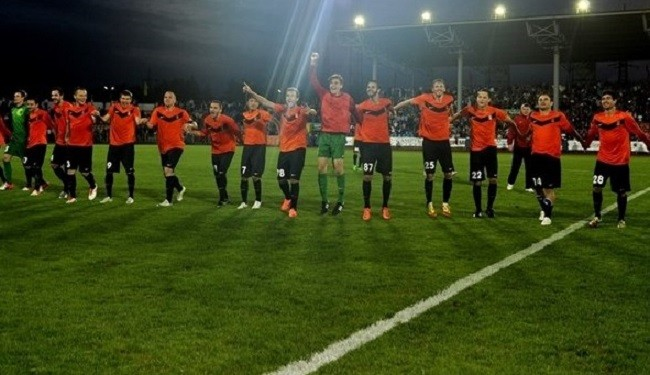 Shakhter Karagandy players after beating Celtic in Champions League play-off, first leg