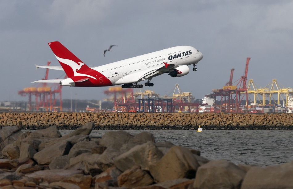 A Qantas plane A380 takes off from Kingsford Smith International airport in Sydney. (Reuters)