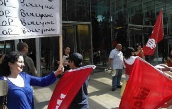 Cleaners protest at Clifford Chance against conditions at Mitie PIC: @DomGover