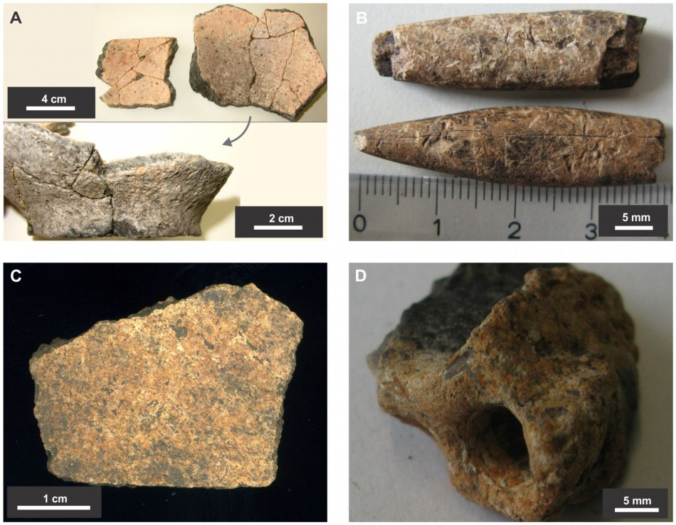 Material retrieved from the middens include fragmented pottery (A) bone tools (B) fragment of human skull (C) and burnt earth (D). (Photo: PLoS ONE)