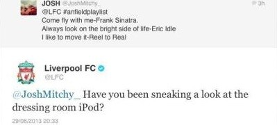 The tweet was sent ahead of Liverpool's game against Manchester United on Sunday