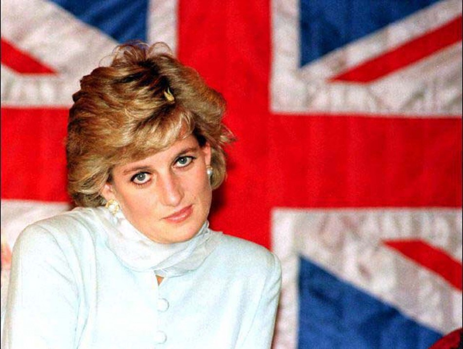 File photo of Diana, Princess of Wales sitting in front of a British flag during a visit to the Shaukat Khanum Memorial Cancer Hospital in Lahore February 22, 1997. The Princess and her millionaire companion Dodi Al Fayed died in a car crash in Paris, Aug