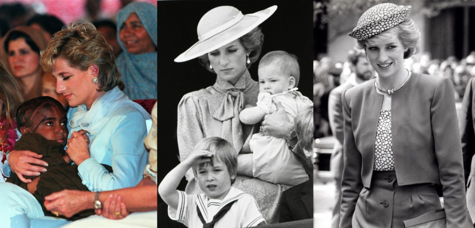 Princess Diana endeared herself to people with her kind heart and motherly care. She is seen cradling a young child striken with cancer in Lahore in 1996(L) and with her sons William and Harry in 1985. (Reuters)