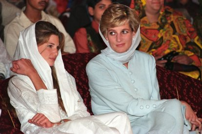 Princess Diana with Jemima Khan in Lahore in 1996. According to Khan, Diana sought advice from her on settling down in Pakistan. (Reuters)