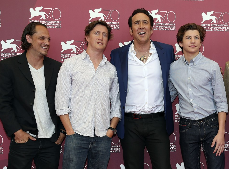 Actors Nicolas Cage (2nd R), Ronnie Blevins (L),Tye Sheridan and director David Gordon Green (2nd L), pose during a photocall for the movie