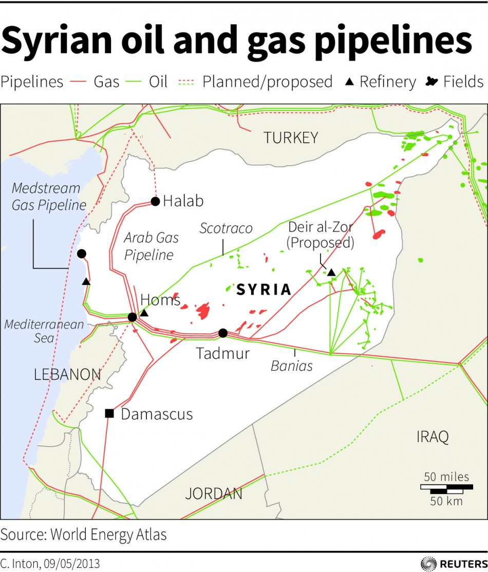 Map of Syria locating the oil and gas facilities in the country