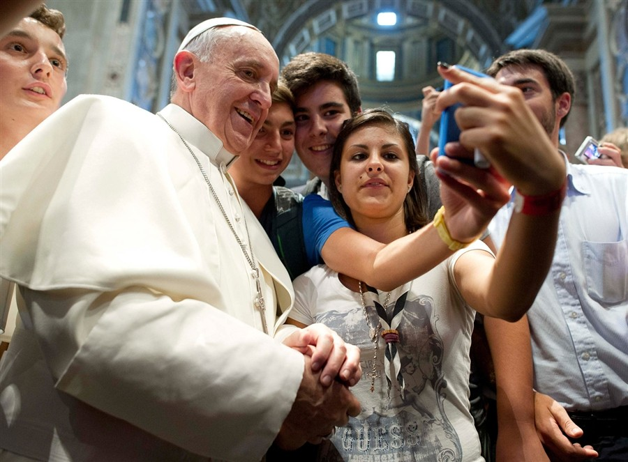 Pope Francis poses for the first papal selfie. (Facebook)