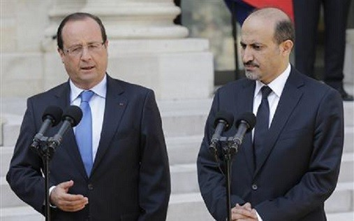 Francois Hollande, left, with Ahmad Jarba
