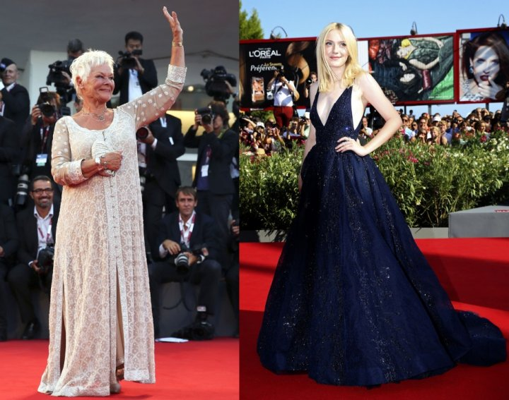 Actresses Judi Dench (L) and Dakota Fanning arrive at red carpet during the 70th Venice Film Festival in Venice August 31, 2013. (REUTERS/Alessandro Bianchi )
