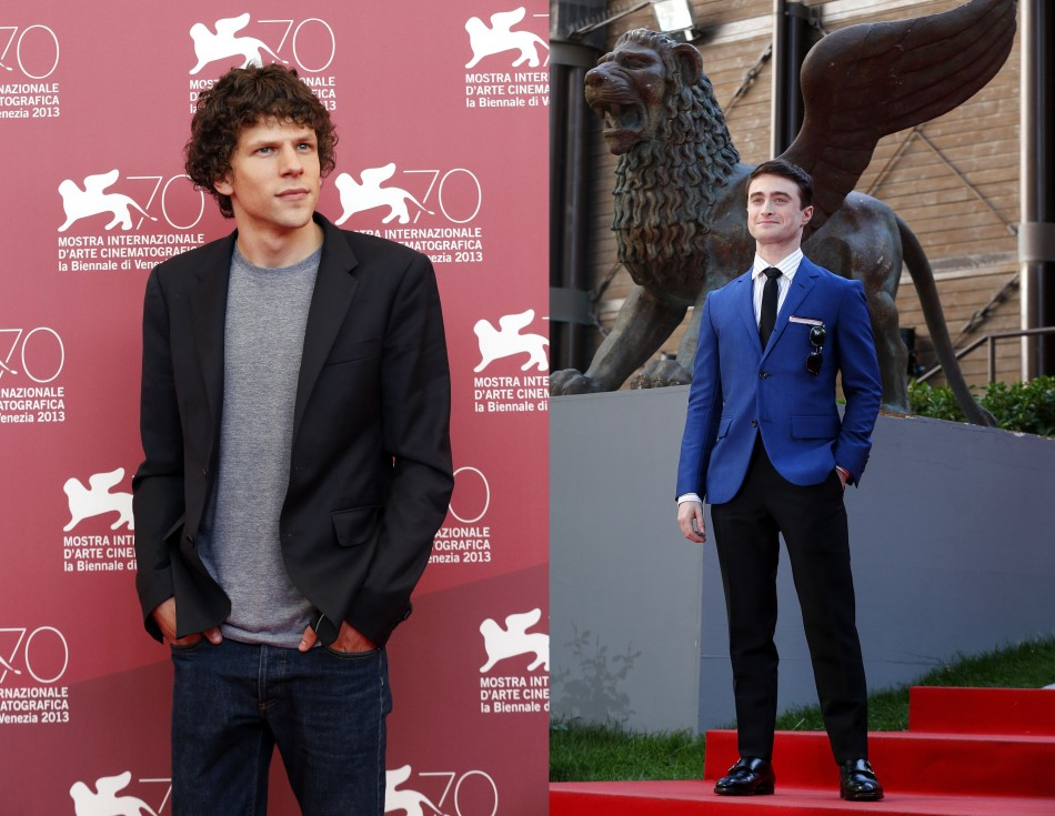 Daniel Radcliffe (L) poses during a red carpet event for the movie Kill Your Darlings; and Jesse Eisenberg poses during a photocall for the movie Night Moves at the 70th Venice Film Festival in Venice. (REUTERS/Alessandro)