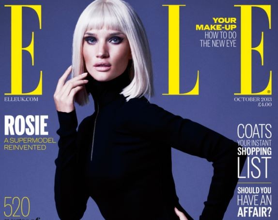 Rosie Huntington-Whiteley is the lastest star the cover the October issue of Elle UK.