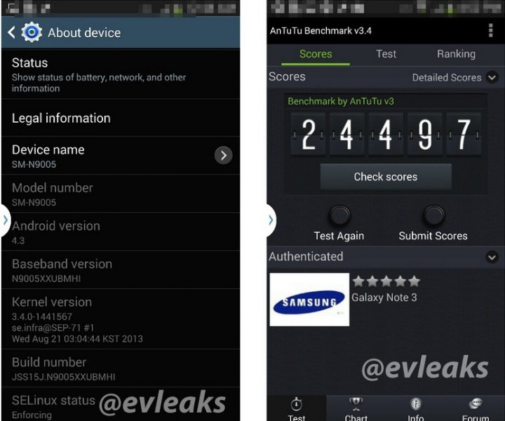 Galaxy Note 3 LTE Appears in Benchmark, Revealing Features