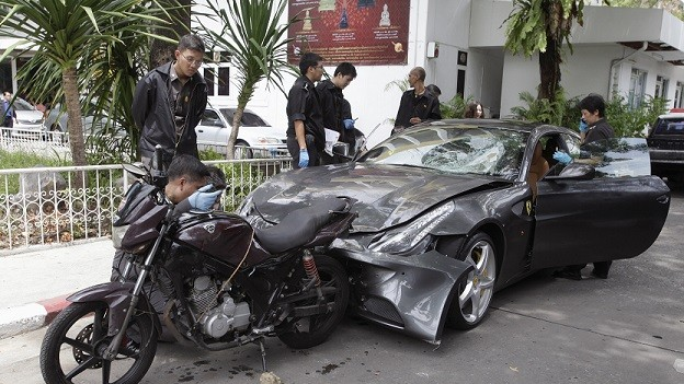 Police say Yoovidhaya hit a police officer with his Ferrari, then dragged the body for several metres before driving away (Reuters)