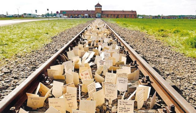The main railway building at Auschwitz-Birkenau (Reuters)
