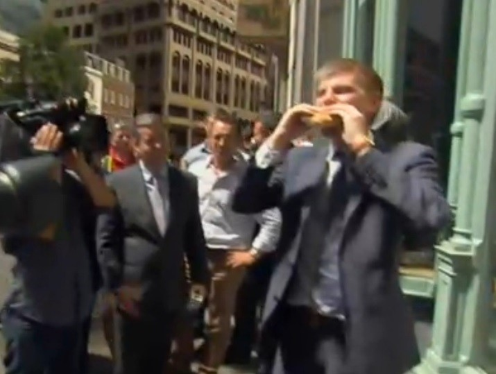 Egg is sunny side up as reporter takes bite for the cameras PIC: Sky