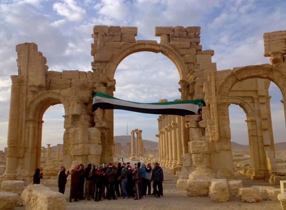 Demonstrators protest against Syria's President in the ancient city of Palmyra, in the heart of the Syrian desert on November 18, 2011. The Syrian civil war has damaged all six of the Unesco's World Heritage sites, including Palmyra. (REUTERS)