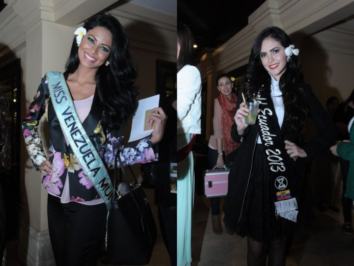 Miss Venezuela 2013, Karen Soto, and Miss Ecuador during reception party. (Photo: Miss World Indonesia 2013)