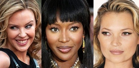 Kate Moss, Naomi Campbell and Kylie Minogue