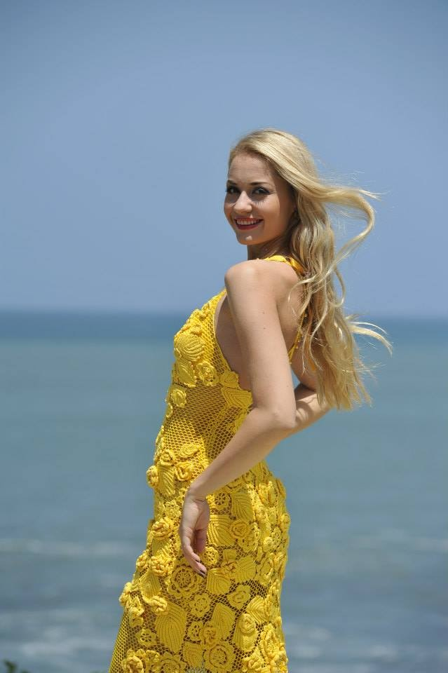 Miss Lithuania 2013, Ruta Elzbieta Mazureviciute, poses against the backdrop of Indian Ocean at Nirwana Bali Resort in Bali, Indonesia. Contestants of Miss World pageant, for the first time, won't wear bikini for beachwear round during the Miss World 2013