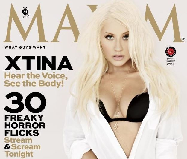 American singer Christina Aguilera flaunted her toned figure on the cover of Maxim's October issue.