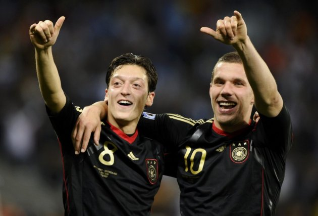 Mesut Ozil and Lukas Podolski