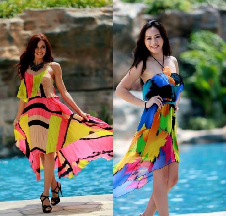 Miss World US Virgin Islands 2013, Petra Cabrera (L) and Miss World Guam 2013, Camarin Mendiola (Photo: Miss World/Facebook)