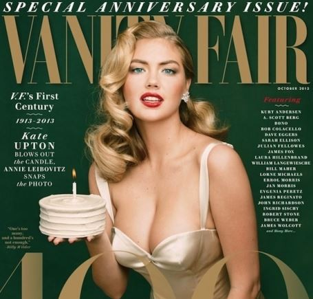 American model/actress Kate Upton poses as Marilyn Monroe on the cover of Vanity Fair magazine's 100th anniversary issue.