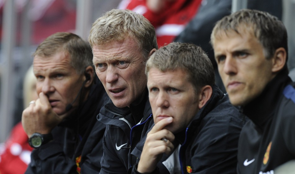 Chris Woods, David Moyes, Steve Round and Phil Neville