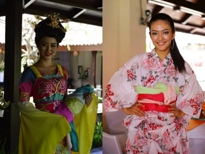 Miss China (L) and Miss Japan pose in traditional outfits for a pre-talent show in Bali, Indonesia. (Photo: Miss World/Facebook)