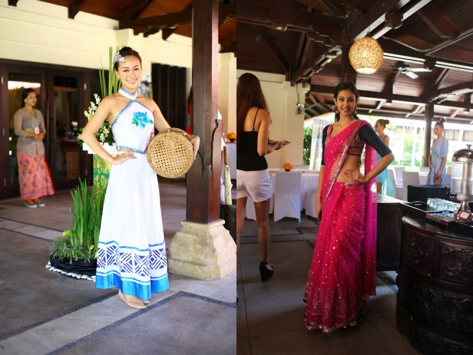 Miss Hong Kong China (L) and Miss India, Navneet Kaur Dhillon, pose in traditional outfits. (Photo: Miss World/Facebook)