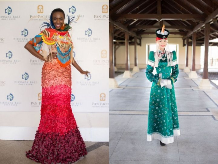 Miss Angola (L) and another Miss World 2013 contestant pose in traditional outfits. (Photo: Miss World/Facebook)