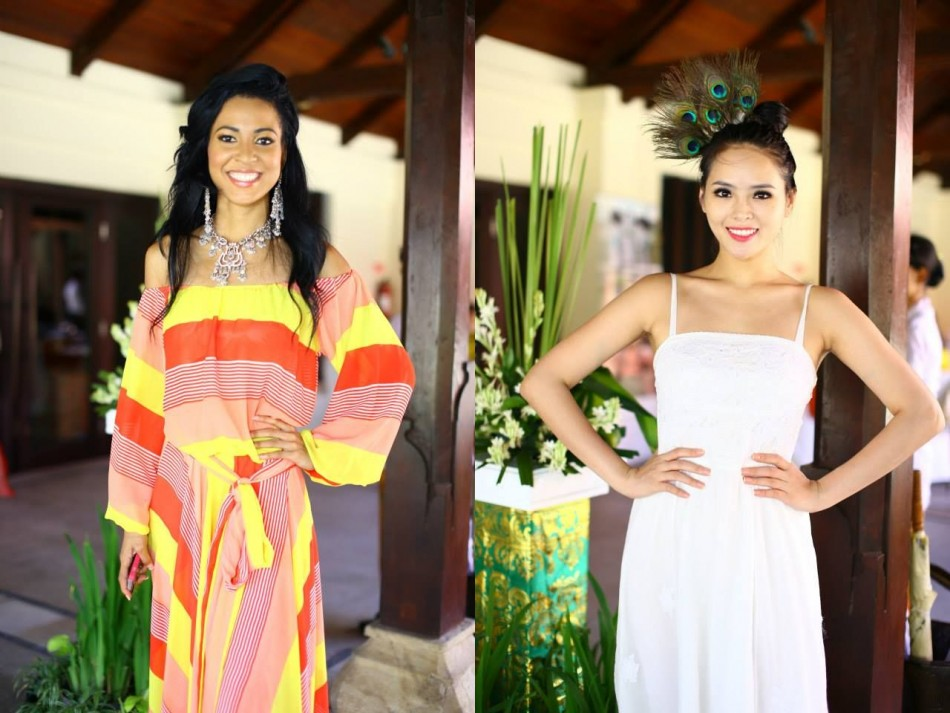 Miss Trinidad & Tobago (L) and Miss Vietnam show their ethnic accessories (Photo: Miss World/Facebook)