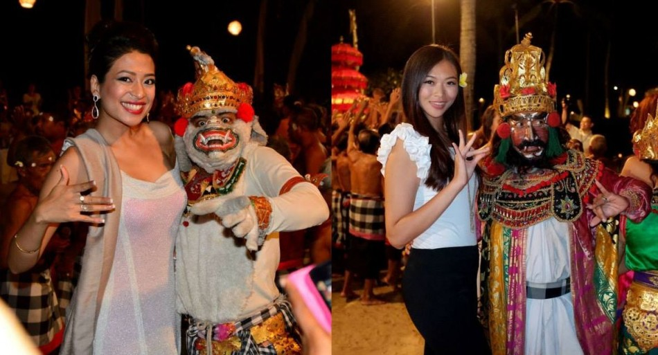 Miss World Chinese Taipei 2013 (R) and another Miss World 2013 contestant pose with traditional dancers in Bali. (Photo: Miss World/Facebook)