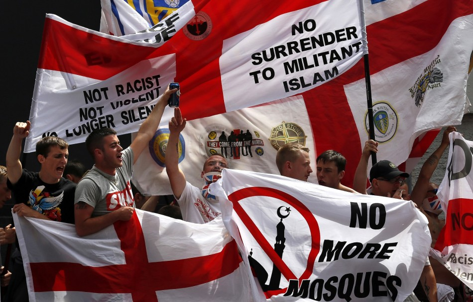 EDL supporters at a rally in Birmingham earlier this year.