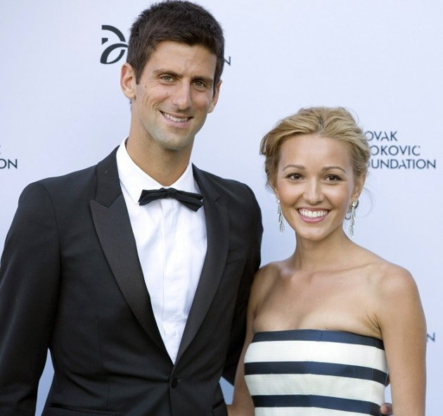 Serbian tennis player Novak Djokovic and his girlfriend Jelena Ristic arrive at a fundraising dinner for the Novak Djokovic Foundation.