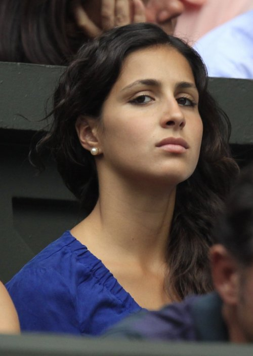Maria Francisca Perello sits on Centre Court for Nadal's match against Juan Martin Del Potro of Argentina at the Wimbledon tennis championships in 2011.