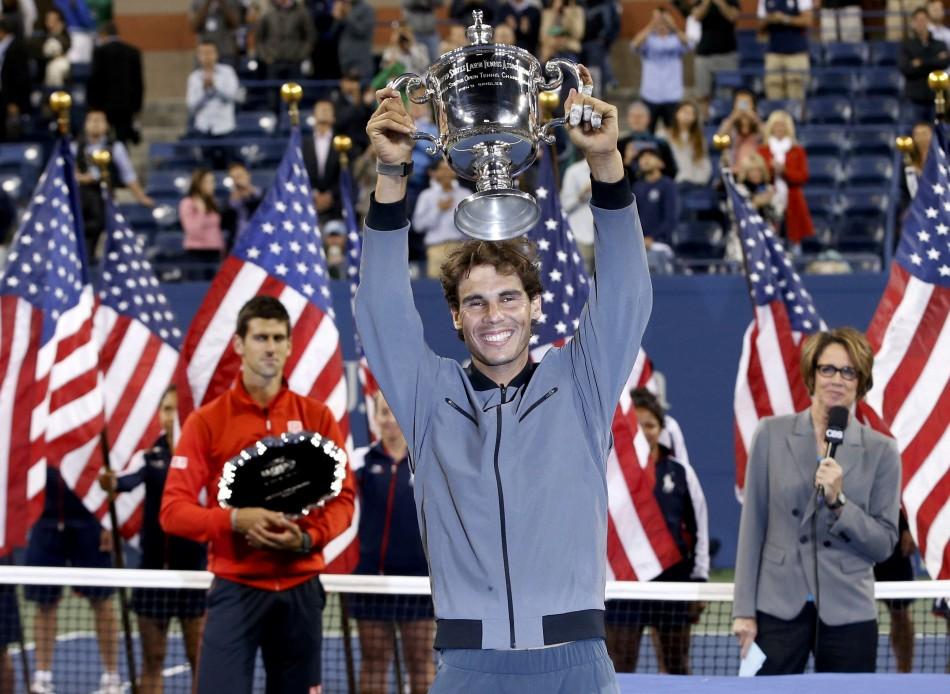 Rafael Nadal celebrates winning the US Open 2013