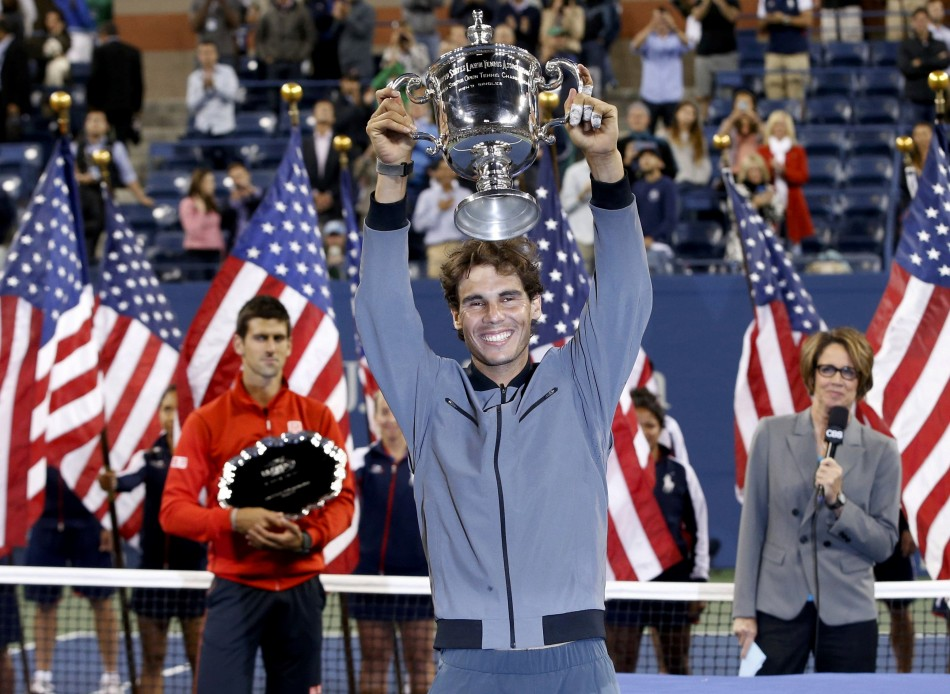 Rafael Nadal celebrates winning the US Open 2013