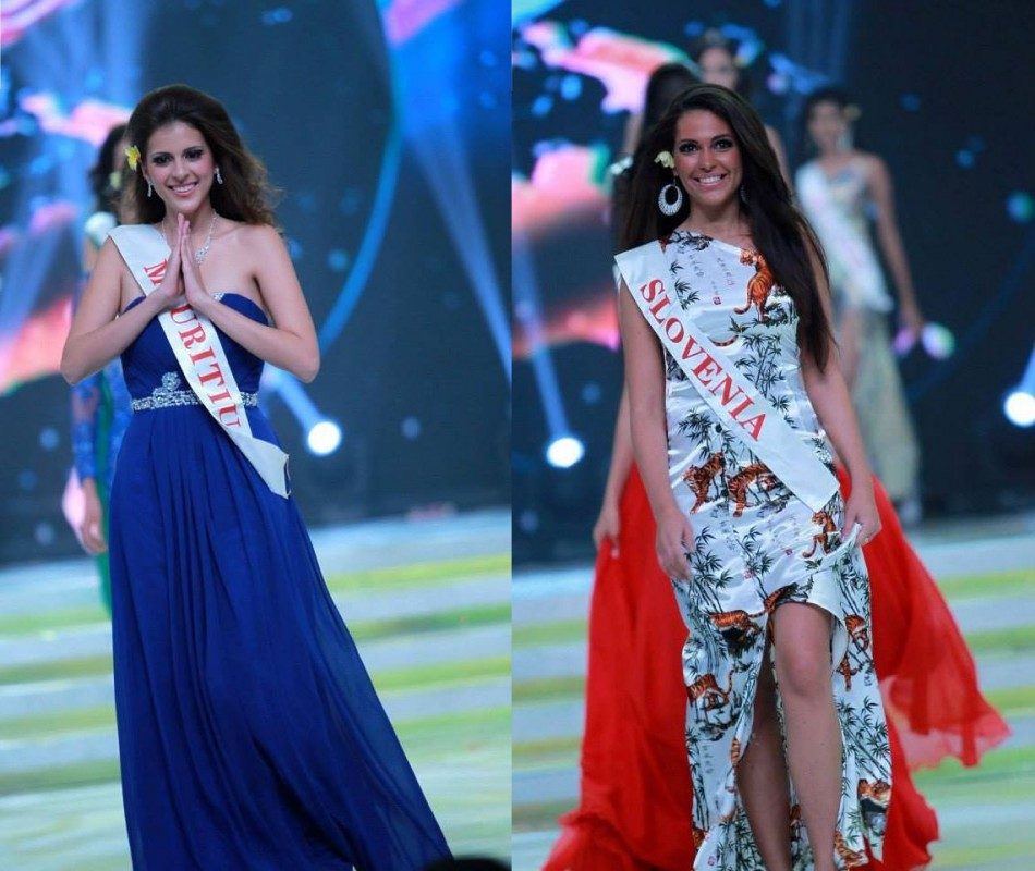 Miss World Mauritius 2013 and Miss World Slovenia 2013 catwalk during the opening ceremony of Miss World 2013 contest in Bali, on 8 September. (Photo: Miss World/Facebook)