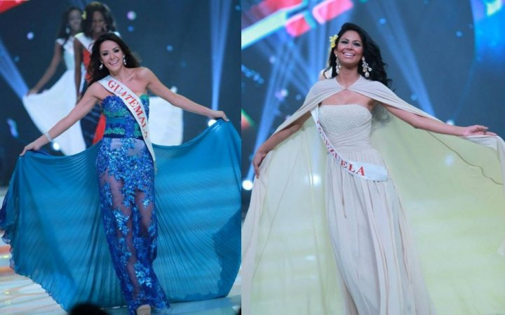 The Miss World 2013 contestants wore evening gowns for formal round of catwalk to introduce themselves during the opening ceremony of Miss World 2013 contest. (Photo: Miss World/Facebook)