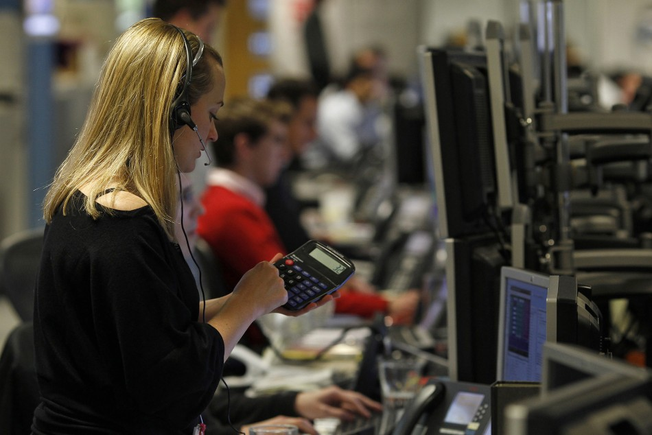 A trader works on the trading floor in London