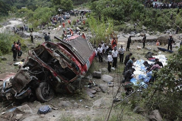 The scene of the bus crash in San Martin Jilotepeque, Chimaltenang which has killed at least 43 people (Reuters)
